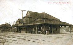 Grand Rapids & Indiana depot at Big Rapids, Michigan in a postcard view, circa 1920.