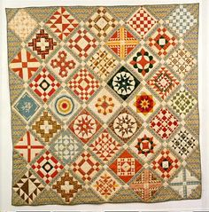 Thomas Sykes Quilt, about 1840, New Jersey; DAR Museum; see link for extensive notes: www.quiltindex.or...