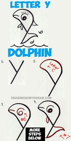 How to Draw a Cartoon Dolphin from a Lowercase Letter Y - Easy Tutorial for Kids