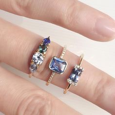 Never feeling blue when you have these bright sapphire rings to choose from, our Harmony, Adelaide and PS Rings #sapphirering #alternativebride #ringstack #diamondring #madeinnyc #valejewelry