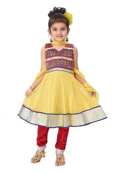 Make your baby girl stunning with this anarkali suit. Item Code: KDEW134GY  http://www.bharatplaza.com/new-arrivals/kids-wear.html