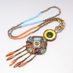 Glass Seed Beads Beaded Women's Long Rhombus Pendant Necklaces