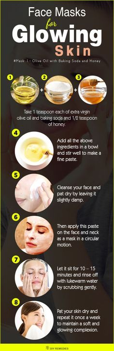 DIY Face Masks for Glowing Skin  This face mask is suitable for all skin types. Olive oil penetrates deep into the skin, moisturizes properly, promotes elasticity and reduces blemishes to get a soft and smooth skin. #DIY #GlowingSkin #Facemasks http://beautifulclearskin.net/
