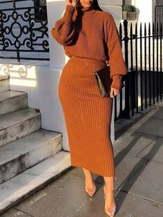 Plain Casual Turtleneck Women's Two Piece Sets Winter Fashion Outfits, Look Fashion, Fall Outfits, Girl Fashion, Autumn Fashion, Fashion Blogs, Fashion Trends, Modest Outfits, Classy Outfits