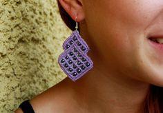 Lavender liliac Earrings oriental Macramè Lace by UtilartMacrame