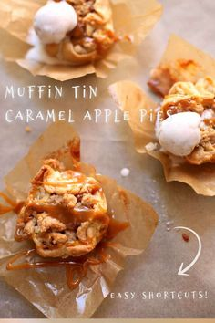Mini apple pies made with store-bought caramel sauce and pie crusts, everybody raves about Muffin Tin Caramel Apple Pies! #applerecipes #appledesserts #miniapplepierecipe #muffintinrecipes #studiodeliciouseats