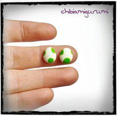 Yoshi eggs earrings stud charm chibi in polymer por Chibiamigurumi, €11.95