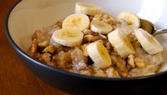Banana Nut Oatmeal- Good Morning! How about a healthy bowl of Oatmeal to start off your busy day of classes, or at very least this fine Saturday morning? This recipe is packed with nutrients that will keep your stomach full well beyond lunch time.  If walnuts aren't your thing, just leave them out!  This should only take about 7 minutes of cooking to start your morning off right!
