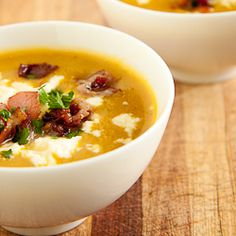 Smooth Vegetable soup with Bacon & Feta Cheese - great way to use up the butternut squash