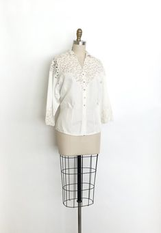 vintage 1940s top 40s illusion lace blouse