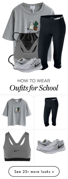 """Last day of school outfit"" by lexiii-caniff on Polyvore featuring WithChic and NIKE"
