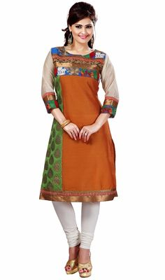 Designer orange and parrot green kora silk tunic is a straight cut tunic which is garnished with woven lace, silk thread embroidered floral applique and woven motifs in the green which makes you to look quite stylish and graceful. #StylishClassicalKurtis