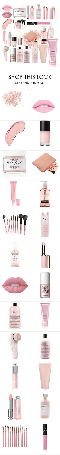 """""""Pink blush make up set"""" by rainy-beach ❤ liked on Polyvore featuring beauty, Bare Escentuals, L.A. Girl, NYX, Herbivore, Christian Dior, Tony Moly, Clarins, Lime Crime and Benefit"""