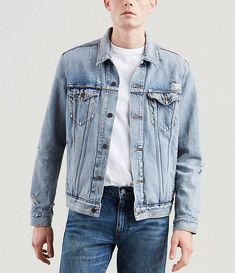 From Levi& && this jacket features& classic Red Tab stylingdenim regular fitspread collar long sleeves button front buttoned chest pocketswelt pocketshits at the waistcotton machine wash Imported& Levis Jean Jacket, Oversized Denim Jacket, Denim Jacket Men, Denim Button Up, Button Up Shirts, Cowboy Up, Ripped Denim, Dillards, Plus Size Outfits