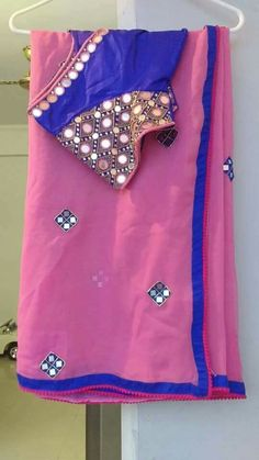 24e39b8bb738f Pink Saree With Heavy Hand Mirror Work Blouse