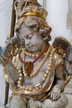 Distressed cherub statue shabby angel by AnitaSperoDesign on Etsy, $220.00