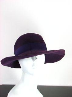 Vintage 60s Mr John Wide Brim Purple Hat