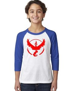 Pokemon Go Gym Team Valor Red Youth Raglan Tee T-Shirt Royal White Large, Boy's, Blue