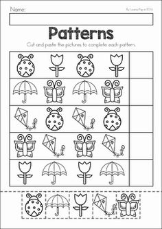 Spring Preschool No Prep Worksheets & Activities. A page from the unit: spring patterns cut and paste