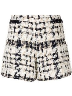 Multicolour virgin wool and cotton blend pearl buttons tweed shorts from Edward Achour Paris featuring a high rise and a short length. Tweed Shorts, Short Outfits, Patterned Shorts, Casual Shorts, Women Wear, Mini Skirts, Clothes For Women, Pearl, Buttons