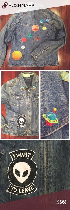 """One Of A Kind Alien Outer Space Jacket Zip up denim with all the hand painted, galactic paraphernalia a space lover could ever want... Colorful solar system, alien with text reading """"I want to leave,"""" and retro spaceships on the lapels. 100% Martian (kidding) cotton French Cuff Jackets & Coats Jean Jackets"""