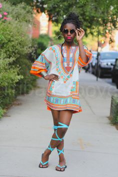 African Dashiki Top/Dress - Men and Womens - ONE SIZE! Ready to ship from Brooklyn in 3 - 5 business days OR nxt day processings Stats: One size