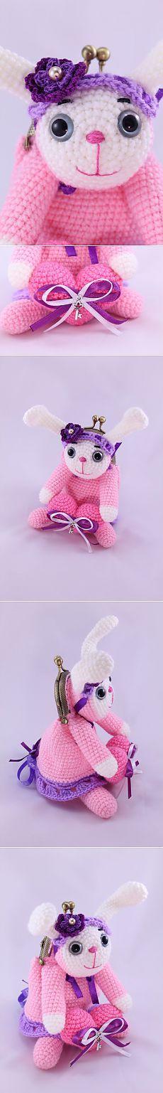 Кошелек с фермуаром «Розовая зайка»   Амигурумик