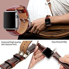 top4cus Genuine Leather Replacement iwatch Band with Secure Metal Clasp Buckle for Apple Watch, iwatch band for Apple, Compatible with Apple Watch Series 3, Series 2, Series 1 (42 mm, Leather band - brown): Amazon.com.au: Electronics