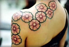 Flower Tattoo # 97 - Nice and flawless flower tattoo going down from neck to upper arm area:)