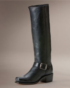 Frye Women's Calvary Strap 15L Boot - Black  Somehow I love the square toe! And tall boots are very chic. But these are chic and sturdy too.