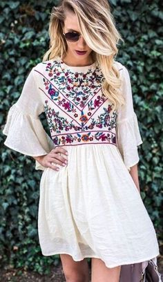 summer outfits White Embroidered Dress