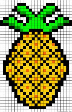 """Pineapple perler bead pattern/ but I don't see why it couldn't be used to make a """"pixel crochet blanket"""""""