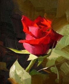 Red Rose 3, painting by artist Qiang Huang