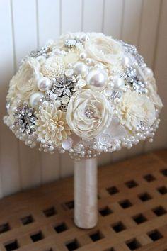 Vintage style artificial Brooch Heirloom Bridal Wedding POSIE Bouquet NEW | eBay