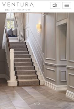 love molded parts! Especially climb up the stairs. I love molded parts! Especially climb up the stairs.,I love molded parts! Especially climb up the stairs. Tiled Hallway, Hallway Flooring, Hallway Walls, Hallways, House Stairs, Carpet Stairs, Style At Home, Stair Paneling, Panelling