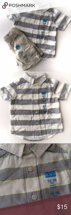 Children's Place Matching Set Children's Place boy matching set includes a short sleeve polo that's white and grey strip with a neon yellow/green pin stripe. And khaki cargo shorts. Children's Place Matching Sets