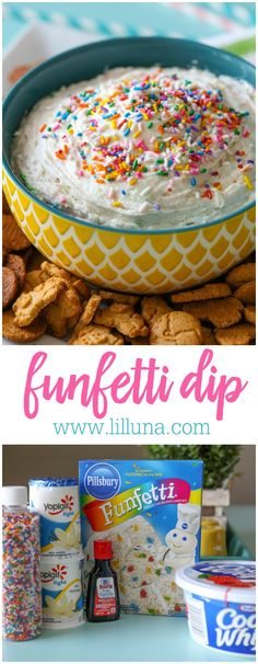 Funfetti Dip - a quick, easy and delicious treat recipe perfect for any occasion!Funfetti Dip - a quick, easy and delicious treat recipe perfect for any occasion! Easy Desserts, Delicious Desserts, Yummy Food, Healthy Desserts, Muffin Coeur Nutella, Dessert Dips, Dessert Recipes, Dip Recipes, Quick Dessert