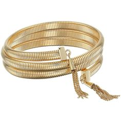Vince Camuto Tassel Coil Bracelet w/ Chain (Gold) Bracelet ($35) ❤ liked on Polyvore featuring jewelry, bracelets, gold bangles, vince camuto jewelry, gold jewellery, chains jewelry and wrap bracelet