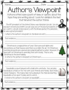 This activity includes three passages for students to determine the author's point of view and identify text evidence.    This product addresses the following Common Core Standards: CCSS.ELA-Literacy.RL.3.6Distinguish their own point of view from that of the narrator or those of the characters.