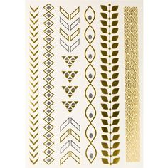 Printed Village Leaves Arrows Metallic Tattoos ($10) ❤ liked on Polyvore featuring accessories, body art and yellow
