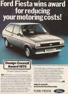 Fiesta advert from 1978 #vintage #Fiesta #Days