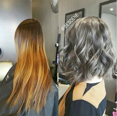 CHARCOAL BROWN! #transformationtuesday. Chopped off her old ombre (not done by me) into a textured long bob (#lob). For her color I chose an extremely smokey gray/brown! Loving how this color turned out! I used @Schwarzkopfusa Igora Royal 6-32, 4-13 for this unique brown! Effortless waves by my assistant @maayanbescene #BESCENE