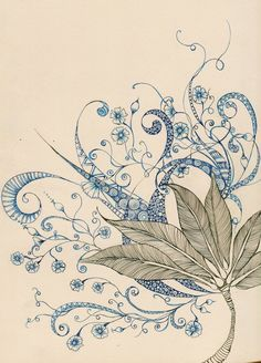 leaves by ~lindzb on deviantART...simply beautiful - colored zentangle - colored doodle  - More doodle ideas - Zentangle - doodle - doodling - zentangle patterns. zentangle inspired - #zentangle #doodling #zentanglepatterns