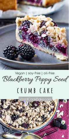 Veganer Brombeer Mohn Streuselkuchen - Ve Eat Cook Bake Simple recipe for a vegan blackberry poppy seed crumble cake. This German crumble cake is quick and perfect for a plant-based dessert or snack. Vegan Sweets, Healthy Dessert Recipes, Cake Recipes, Dessert Diet, Vegan Baking Recipes, Quick Recipes, Food Cakes, Streusel Cake, Desserts Sains