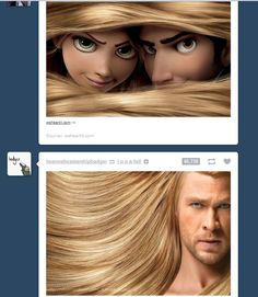 Thor does not find it amusing when Rapunzel and Flynn hide in his hair.