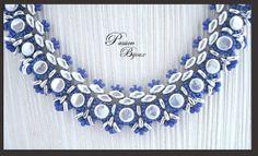 COLLIER DANAËLLE BLEU & ARGENTE en perles de Miyuki et perles tchèques
