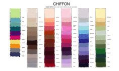 Jordan Bridesmaids Chiffon Color Chart