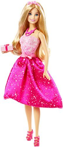 Barbie Happy Birthday Doll. Barbie doll sparkles in a glittery party dress to celebrate a birthday. The glam look stands out with a glittery soft light-pink bodice and vibrant hot pink skirt with sparkling details. Matching accessories include a cute pair of shoes, a detailed statement necklace, a pink bow sash belt and headband. A wrapped gift expands the storytelling fun. A wonderful gift that any girl is sure to love.