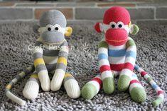 Sock Monkey Stuffed Animal • Free Sewing Pattern | Craft Passion Crochet Sock Monkeys, Crochet Monkey, Crochet Socks, Free Crochet, Kids Crochet, Crochet Animals, Sewing Patterns Free, Free Sewing, Crochet Patterns