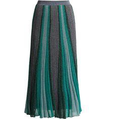 Missoni Striped pleated knit midi skirt ($1,225) ❤ liked on Polyvore featuring skirts, missoni, green stripe, striped midi skirt, high waisted pleated skirt, high waisted skirt, midi skirt and green midi skirt